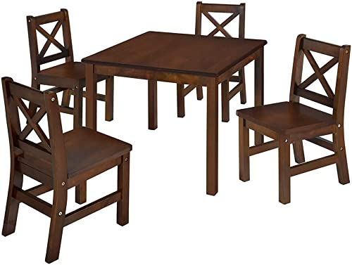 eHemco Kids Table and 4 Chairs Set Solid Hard Wood Coffee