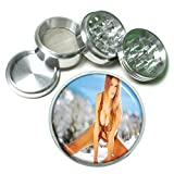 Argentina Pin Up Girls South America S1 Chrome Silver 2.5'' Aluminum Magnetic Metal Herb Grinder 4 Piece Hand Muller Herb & Spice Heavy Duty 63mm
