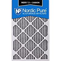 Nordic Pure 18x25x2PM12C-3 Pleated MERV 12 Plus Carbon AC Furnace Filters (3 Pack), 18 x 25 x 2