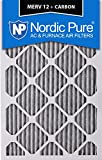 Nordic Pure 20x25x4 (3-5/8 Actual Depth) Pleated MERV 12 Plus Carbon AC Furnace Air Filter, Box of 1