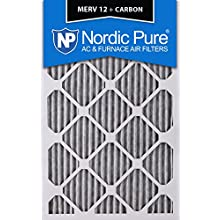 """Nordic Pure 16x25x1PM12C-6 Pleated MERV 12 Plus Carbon AC Furnace Filters (6 Pack), 16 x 25 x 1"""""""
