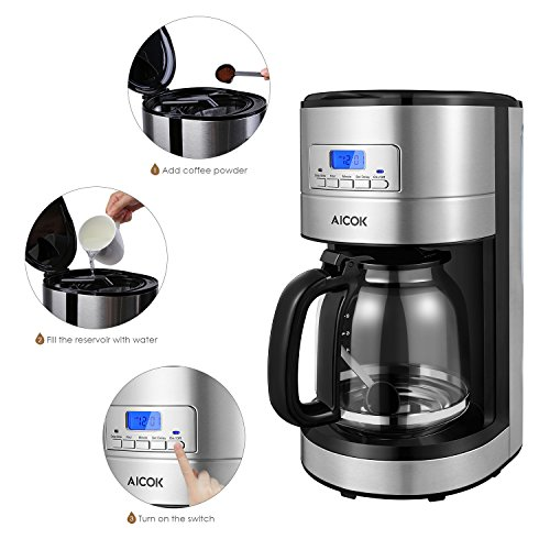 Aicok-Drip-Coffee-Maker-12-Cup-with-Coffee-Pot-Programmable-Coffee-Maker-with-Timer-and-Reusable-Mesh-Filter-Stainless-Steel