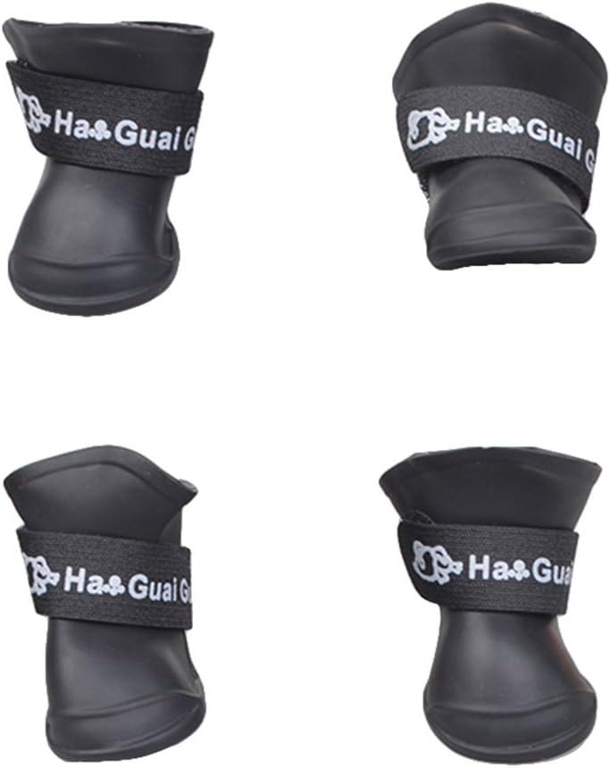 UEETEK Botas de lluvia para Perro mascota Colores dulces Zapatos de goma antideslizantes a prueba de agua para Pequeño perrito - Talla M (Negro)