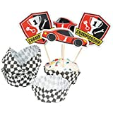 Race Car Birthday Cupcake Wrappers with Picks - Makes 50 Treats
