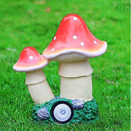 LOVEPET Mushroom Solar Light Outdoor Glass Steel Mushroom Ornaments Garden Simulation Sculpture Garden Ornament 28X19X32cm