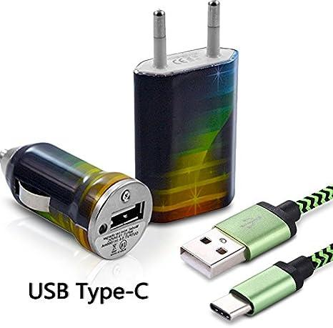 KARYLAX Chargeur Secteur Voiture Câble USB Type C Motif CV06 pour Doogee X60L