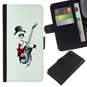 KingStore / Leather Etui en cuir / Sony Xperia Z3 D6603 / Música Rock Guitar Sombrero Arte hombre blanco de pelo