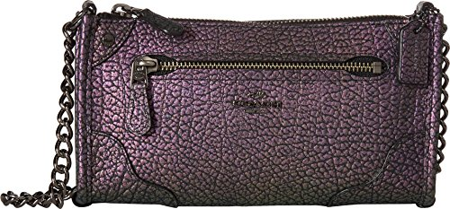 COACH Women's Grain Leather Mickie Crossbody Dk/Hologram One Size (Zip Zap Zipper Bag)