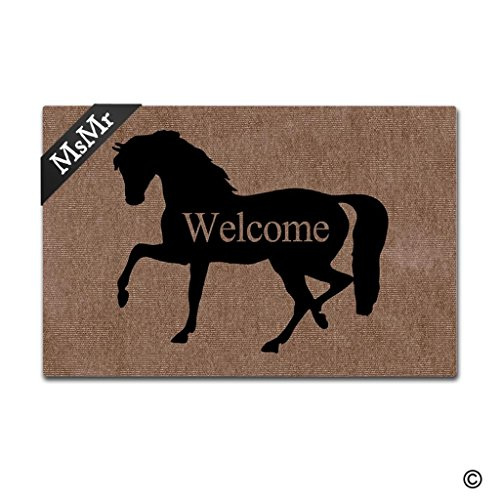 MsMr Funny Door Mat Entrance Front Door Mat Horse Welcome Home Doormat Indoor Outdoor Decor Doormat Non-Slip Rubber Backing Mat 30x18 Inch Horse Door Mat