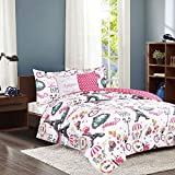 HowPlum Twin Paris Comforter 4 Piece Bedding Set Multi-Color Pink Eiffel Tower French Café