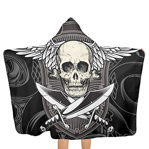 (Oversized Hooded Baby Towel Bathrobe Skull Wing with Sword Beach Bath Towel Toddler Swim Pool Coverup Poncho Cape for Kids Children Teenager )