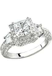 0.45 Carat (Ctw) 18k White Gold Round Cut Diamond Vintage Antique Look Semi Mount Ladies Engagement Bridal Ring (No Center Three Stones)