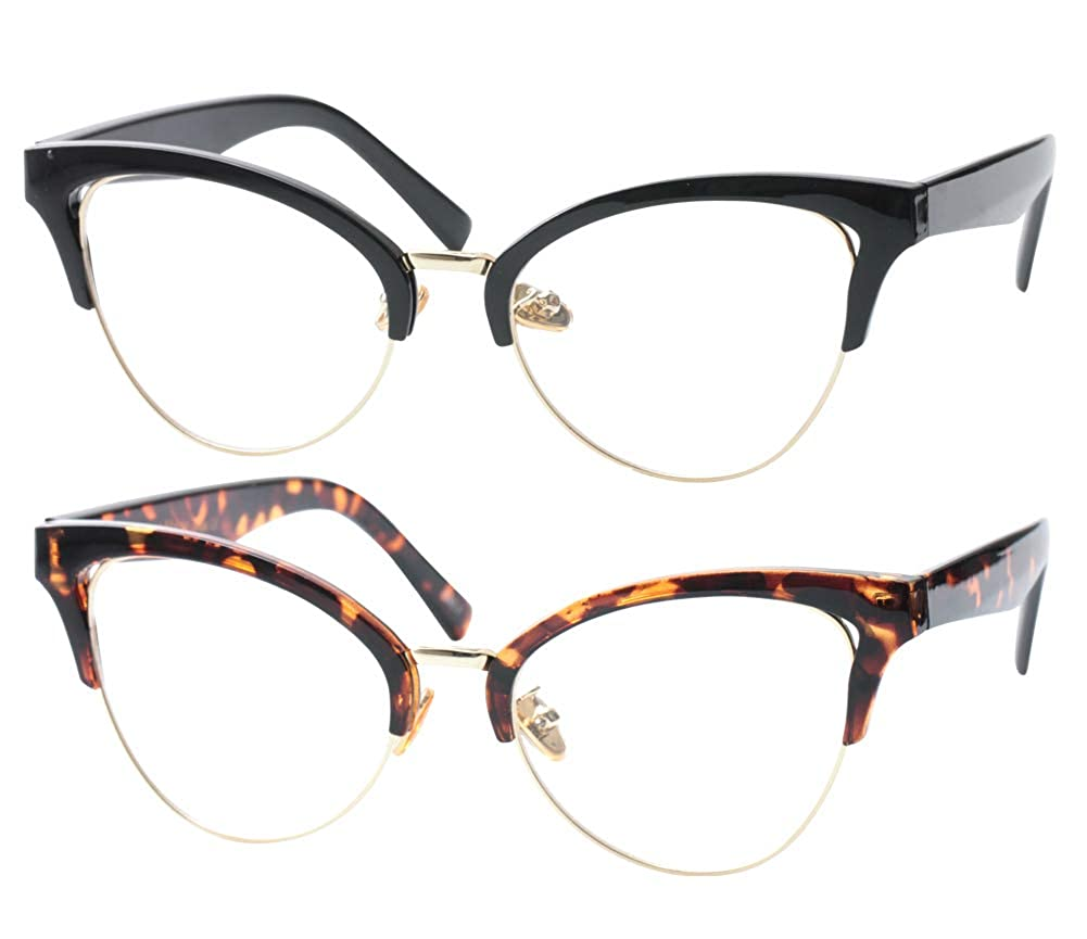 992c66bd250eb Amazon.com  SOOLALA Womens Large Half Frame Cat Eye Reading Glass Unique  Eyeglass Frame