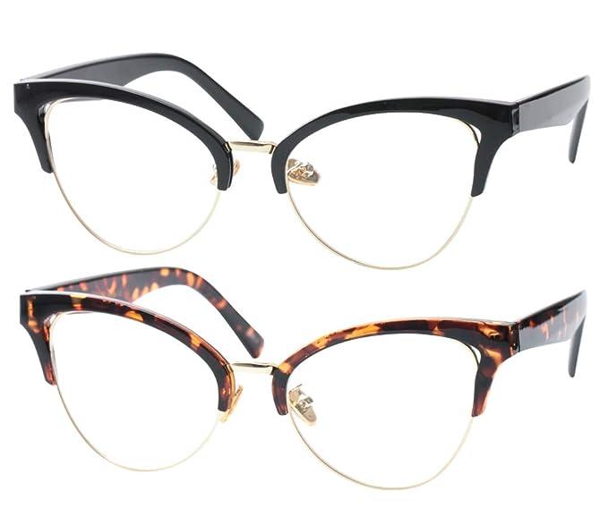 0353c8e095 SOOLALA Womens Large Half Frame Cat Eye Reading Glass Unique Eyeglass  Frame