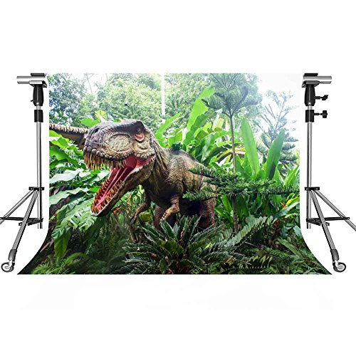 MEETS 7x5ft Jurassic Park Backdrop Dinosaur Green Plant Photography Background Themed Party Photo Booth YouTube Backdrop GEMT886 -