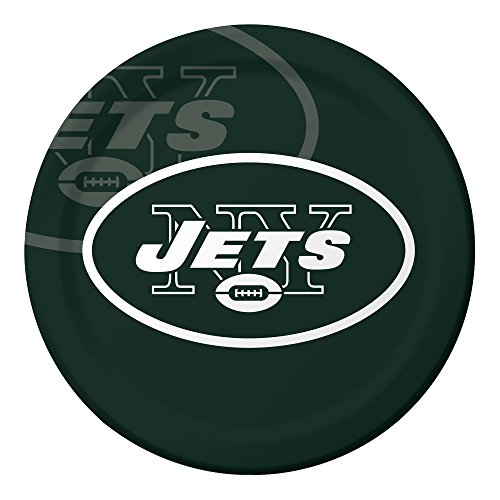 Creative Converting Officially Licensed NFL Dinner Paper Plates, 96-Count, New York Jets