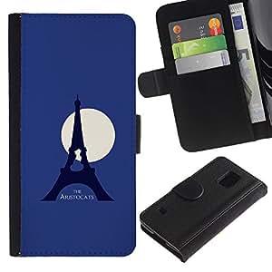 """A-type (Aristogatos"""") Colorida Impresión Funda Cuero Monedero Caja Bolsa Cubierta Caja Piel Card Slots Para Samsung Galaxy S5 V SM-G900"""