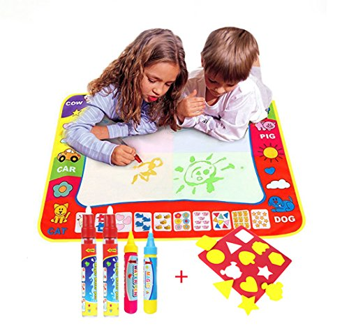 Water Doodle Magic Mats For Kids 31.5x23.6inch,TQP-CK Water Drawing Mat 4 Colours Child Painting Play Learning Magic Water Doodle Painting Pen With 4 Doodle Painting Pens - Kids Play 5 Note