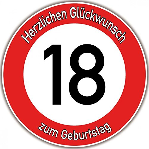 Tortenaufleger Fototorte Tortenbild Warnschild 18. Geburtstag rund 20 cm GB03