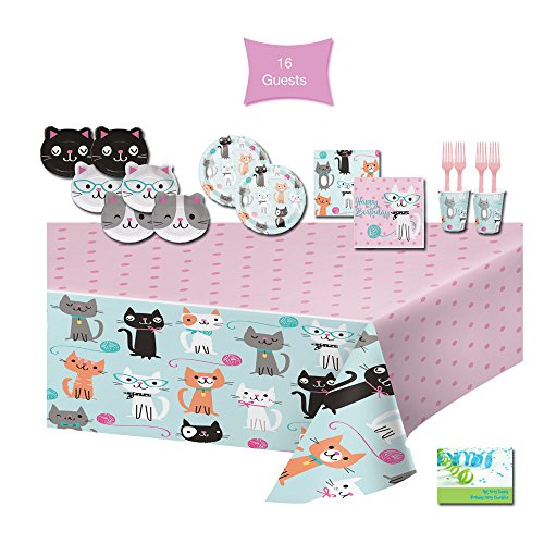 Cat Party Supplies Cat Themed Birthday Party Supplies - Tableware for 16 Guests - Plates, Napkins, Cups, Forks, & Tablecloth - Birthday Cat