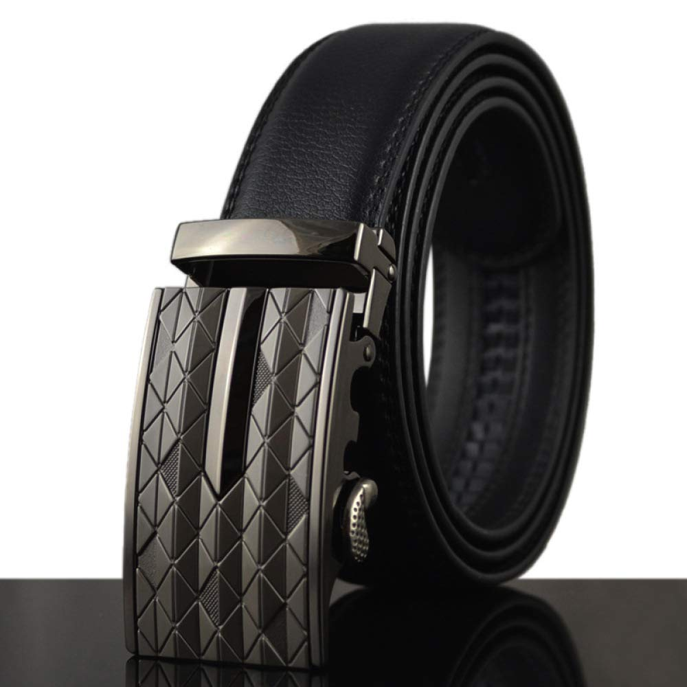 DENGDAI Automatic Buckle Belt Mens Leather Belt Length 100-135cm