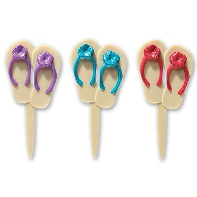 DECOPAC Summer Flip Flops DecoPic Cupcake Picks (12 Count): Toys & Games