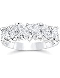 1 12ct fancy marquise diamond wedding ring womens stackable band 14k white gold - Black Diamond Wedding Rings For Women