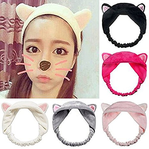 Adecco LLC 5pcs/pack Cute Cat Ear Hair Band For Women Wash Face Makeup Running Sport Face Hair Band