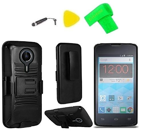 cheap for discount f5cb1 7b0e3 Holster Belt Clip + Hybrid Cover Phone Case + Screen Protector + Extreme  Band + Stylus Pen + Pry Tool for ZTE Quest N817 Virgin Assurance QLink  N-817 ...