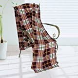 [Trendy Plaids - Burgundy//WhiteYellow] Soft Coral Fleece Throw Blanket (71 by 79 inches)