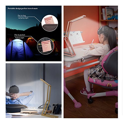 ANTIEE Foldable LED Desk Lamp, USB Rechargeable, Portable and Multi-Functional - Reading, Studying, Camping, Home and Office (Rose Gold) by ANTIEE (Image #5)