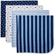 Gerber Baby Boys 4 Pack Flannel Receiving Blanket, Transportation, One Size