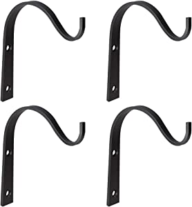 4 Pack Rustic Iron Wall Hook for Hanging Plant Bracket,Heavy-Duty Metal Hooks,Decorative Iron Hook,Hook Gardening,Rustic Home Decor Indoor & Outdoor,Screws Included