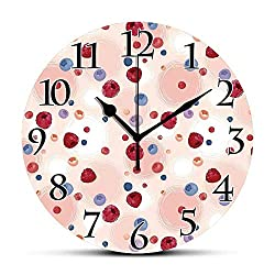 BCWAYGOD Silent Wall Clock,Peach,Raspberries Blueberries Cranberries Food Themed Design with Abstract Circle Backdrop Decorative Non Ticking Wall Clock/Desk Clock for Office Home Decor 9.5 inch