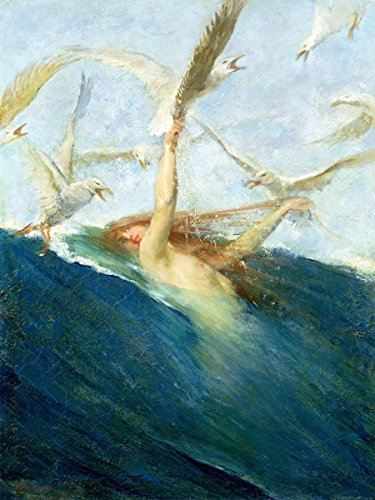 Mermaid sea water girl gull bird by Giovanni Segantini Accent Tile Mural Kitchen Bathroom Wall Backsplash Behind Stove Range Sink Splashback One Tile 6