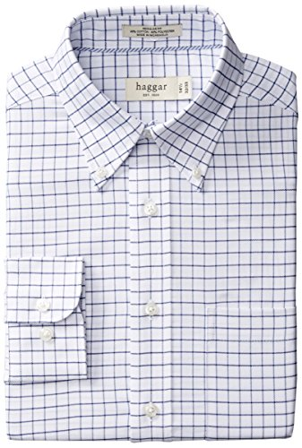 Haggar Regular Fit Checkered Oxford Button Front