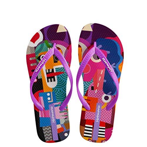 Plage Coloré Chausson Piscine Hotmarzz Tongs Ete Femme Flip Sandales Flops Violet 6qZBXR