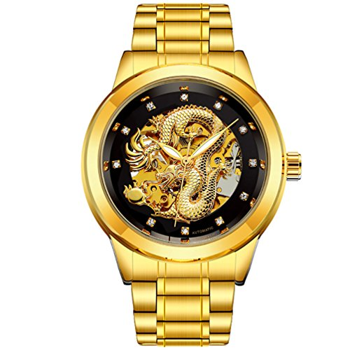 - VIGOROSO Men's Luxury Automatic Mechanical Watches Gold Dial Dragon Skeleton Wrist Watch (Gold&Black)