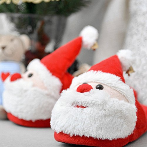 Tinksky Christmas Santa Claus Slippers Winter Warm Soft Plush Slippers Anti Slip size 42-43