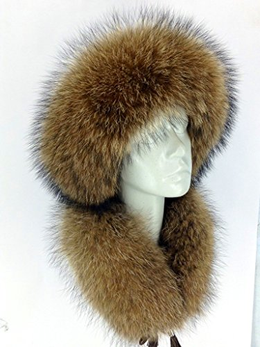 - Raccoon Fur Roller Hat Leather and Scarf as Headband