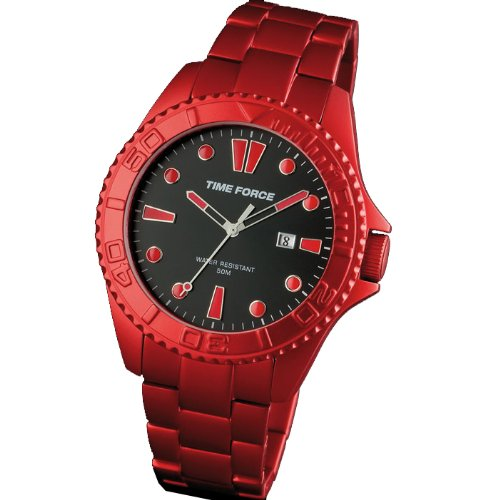 Reloj TIME FORCE colección CHISEL de caballero. Calendario. Cadena Aluminio. Rojo. TF-4190M04M: Amazon.es: Relojes