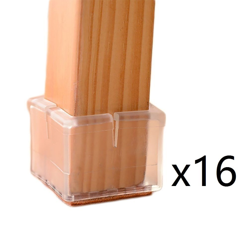 Pack of 16, Round 7//8 to 1-1//16 Round 7//8 to 1-1//16 CoolHome Transparent Silicone Chair Leg Caps Felt Pads Furniture Pad Chair Leg Floor Protectors
