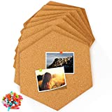 Famistar Hexagon Cork Board Tiles 8 Pack with Full Sticky Back,Mini Wall Bulletin Boards,Pin Board-Decoration for Pictures,Photos,Notes,Goals,Drawing,Painting-Bonus 50 Pins
