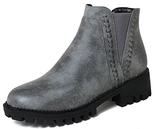 IDIFU Womens Fashion Pull On Round Toe Mid Chunky Heel Short Ankle High Martin Boots Gray W95oI