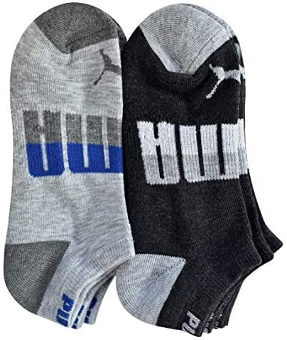 Black//Gray Assorted Sock Size 9-11 Shoe Size 4-10 Puma Boys P105434-037 Low-Cut 6-Pack Socks Age 10 and Up