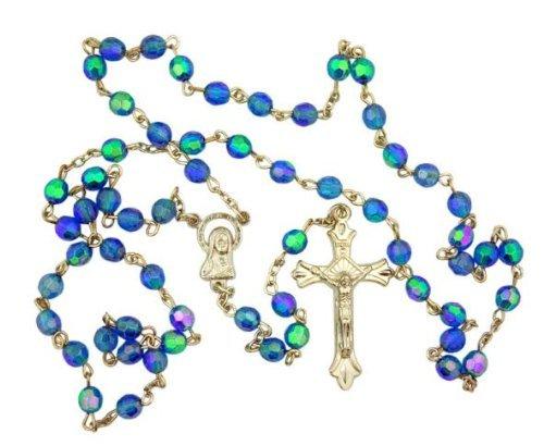 Christian Brands Catholic Light Blue Aurora Borealis Glass 6MM Prayer Beads Rosary with Virgin Mary (Aurora Borealis Glass Necklace)