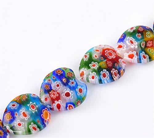 Lampwork Glass One (YC 1 Strand Heart Flower Pattern Millefiori Flower Glass Lampwork Loose Beads 19x19mm)