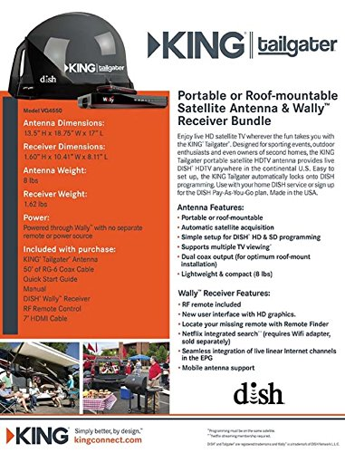 KING VQ4550 Tailgater Bundle - Portable Satellite TV Antenna and DISH Wally HD Receiver by KING (Image #13)