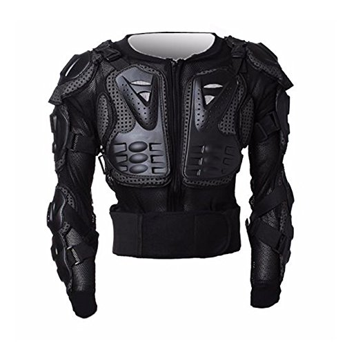 Street Body Armor - LEAGUE&CO Motorcycle Full Body Armor Protector Pro Street Motocross ATV Guard Shirt Jacket with Back Protection Black (Medium)