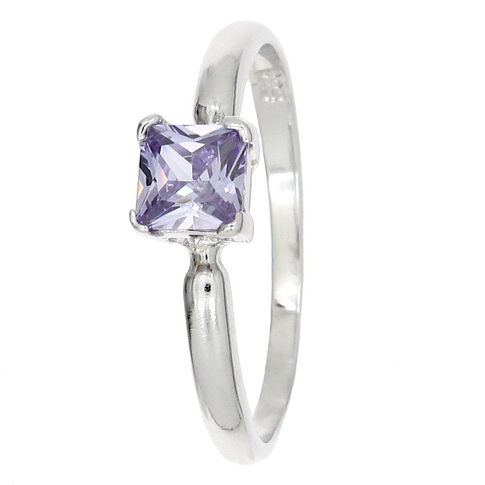 Lgu Sterling Silver Rhodium Plated Polished Glass Stone Princess Cut Child Ring Birth Month June (3) by Lgu